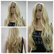 Hot Long Light Blonde Curly Hair Heat Resistant Wavy Cosplay Womens Full Wigs