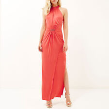 BNWT River Island Coral Drape Maxi Evening Occasion Cruise Dress Size 12 NEW