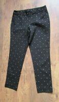 NEW BLACK STAR PRINT FADED GLORY STRAIGHT LEG TROUSERS SIZE 12 28'' LEG