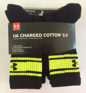 NWT 6 Pairs Under Armour Men's Charged Cotton 2.0 1/4 Crew Low Cut No Show Socks