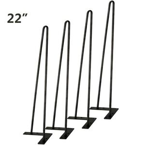 """8"""" - 30"""" Set of 4 Hairpin Coffee Table Black Legs 3/8"""" Solid Iron Bar /Screws US"""