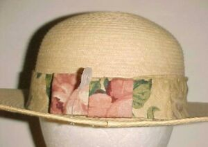 Gumarcaah Guatemala Adult Women Handwoven Palm Floral Band Green Hat 7 1/8 New