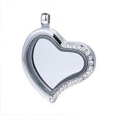 Living Floating Memory Charm Crystal Heart Magnetic Locket Pendant For Necklace