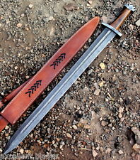 Handmade Damascus Steel Viking Sword Knife  32 Inches Rose Wood Handle