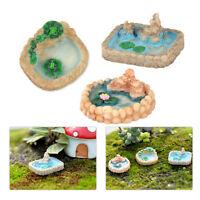 3stk Miniatur Landschaft Teich Puppenhaus Harz Handwerk Garten Landscape DIY