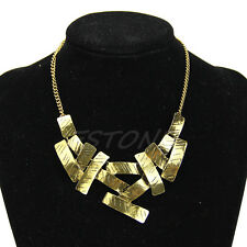 Women Fashion Jewelry Statement Cluster Choker Geometric squares Collar Necklace