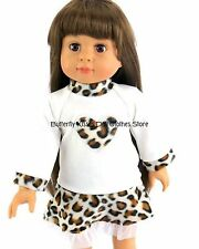 Leopard Print Heart Skirt Set 18 in Doll Clothes Fits American Girl