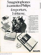 PUBLICITE ADVERTISING 065  1970  PHILIPS   magnétophone à cassettes