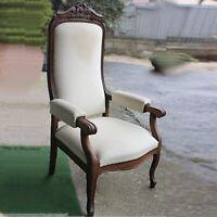 Antica sedia imbottita con braccioli poltrona poltroncina in legno noce ' 800