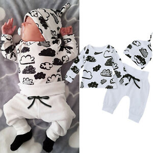 6-12M Newborn Outfits Baby Kids Boys Cloud Print T-Shirt Tops+Pants Clothes Set