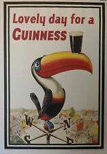 "24"" x 34"" Guinness Poster Lovely Day For Guinness Toucan Official Pub Ad"