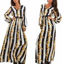 Abito lungo Donna righe nero bianco oro, simil versace, dress woman