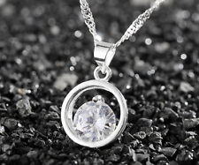 925 Sterling Silver Plating Women Jewelry Beautiful Double ring Pendant Necklace