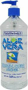NEW Large 20oz ALOE VERA Crystal Clear Pump Bottle Fruit Of Earth Crystal Clear!