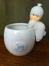 "Darling! Dept 56 SNOWBABIES White Ceramic Candleholder JOY 4 1/2"" Tall"