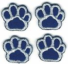 Lot of 4 Blue White Dog Animal Paw Print Embroidery Patch