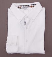 NWT $215 AQUASCUTUM Button-Front White Pique-Knit Cotton Shirt L Slim-Fit