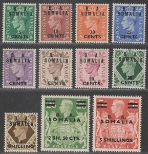 British Occup Italian Colonies 1950 KGVI BA Somalia Surcharge Set Mint SG S21-31