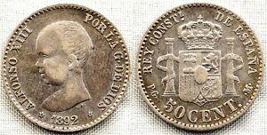 VARIANTE Alfonso XIII 50 centimos 1892*9-2. Madrid. estrella 9 sobre 8 MBC+/VF+