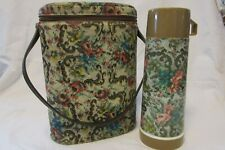 Vintage Collectible Needlepoint Flower Vinyl BRUNCH BAG Lunchbox w/Thermos