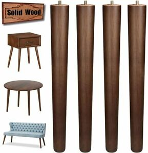 16 inch Wood Table Legs Brown Screw in Sofa Leg for Coffee Table Bench 4pcs