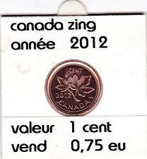 C 1 ) pieces de 1 cent 2012 zing