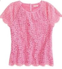 J.Crew Raindrop Lace Hot Pink Top Size 4