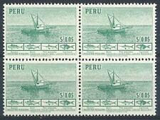 Peru 1952 Sc# 458 Fishing boat Principal fish block 4 MNH