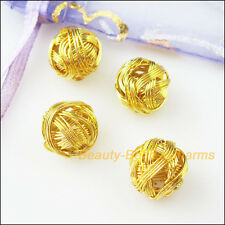 10Pcs Gold Plated Round Winding Hollow Spacer Beads Charms 12mm