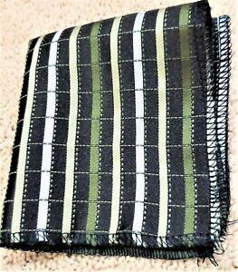 "Black Green ivory striped polyester pocket square 9"" x 9"""
