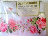 Vintage Springmaid Marvelaire *ROSEGAY* PINK Roses FULL SHEET Eyelet Lace NEW