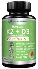 K2 D3 Vitamin Supplement With BioPerine - With Vegan Calcium , Vitamin K and D