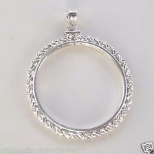 Coin Bezel 38mm Morgan, Peace, Ike Silver Dollars Rope Sterling Silver with Bail
