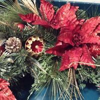 BrylaneHome Christmas Pre-Lit Poinsettia Wreath , Red