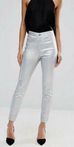 DENIM CO. Women's SILVER SKINNY JEANS Size 6 24 Metallic Stretch Jeggings BNWT