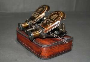 Navy Engrave Antique Brass Binocular Folding W Leather Case Royal Steampunk Lab