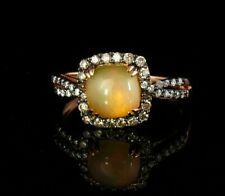 LEVIAN SIGNED NATURAL OPAL & CHOCOLATE DIAMOND HALO 14K STRAWBERRY GOLD RING