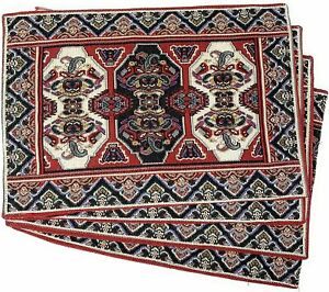 DaDa Bedding Set of 4 Majestic Red Persian Rug Dining Table Tapestry Placemats