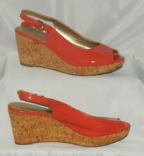 """XAppeal Sling-Back Peep Toe Coral Faux Patent 3"""" Heel Wedge Faux Cork Size 9"""