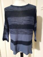 Phase Eight Blue Striped 3/4 Batwing style Sleeve Oversized Jumper Size L