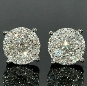 3.50 Ct Round Attractive Cut Diamond Cluster Stud Earring 14K White Gold FN.