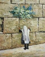 Signed MOSHE KATZ Rabbi Praying at Wailing Wall Jerusalem Judaica Art Painting