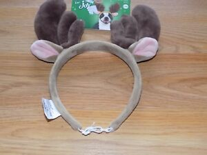 Size Large / XL Time For Joy Merry Reindeer Antlers Headband for Dogs Brown New