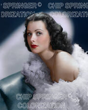 HEDY LAMARR WEARING WHITE FEATHERS BEAUTIFUL COLOR PHOTO BY CHIP SPRINGER