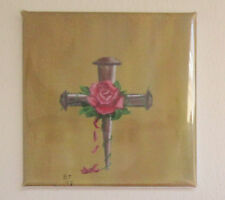 2 inch Refrigerator Magnet with Nail Cross and Rose
