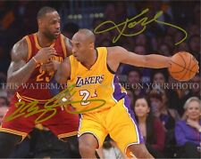 KOBE BRYANT AND LEBRON JAMES SIGNED AUTOGRAPH 8X10 RPT PHOTO LAKERS vs CAVALIERS