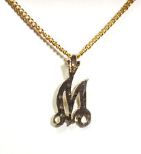 """on a Gold Tone 18 Inch Chai Gold Plated Over Sterling Silver Initial """"M"""" Pendant"""