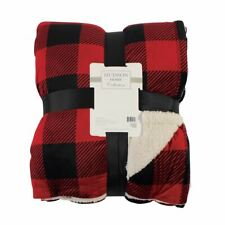 Hudson Home Collection Mink Blanket with Sherpa, Buffalo Plaid