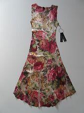 NWT KOMAROV Fall Rose Floral Lace Trimmed Crinkle Sleeveless V-Neck Dress M $278