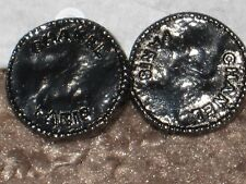 CHANEL PARIS 2 BUTTONS  DARK SILVER  ALMOST BLACK  12 MM/ OVER 1/2''  NEW LOT 2